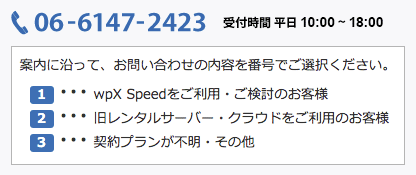 wpX Speed 電話サポート